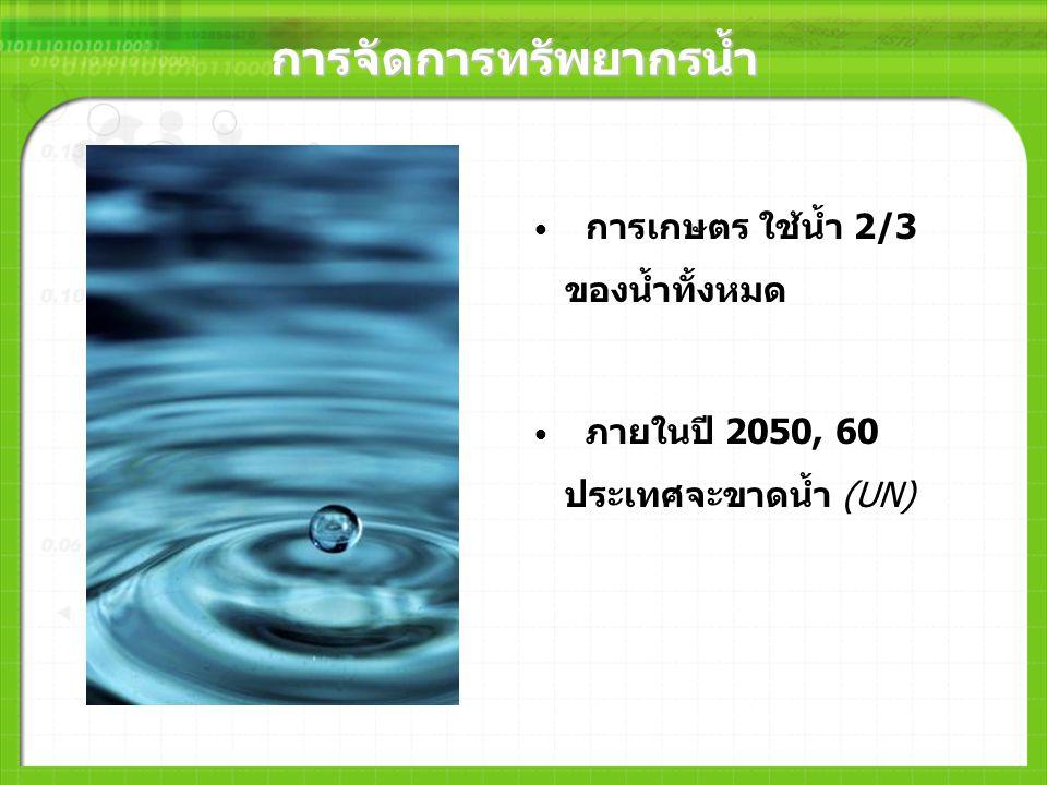 การจัดการทรัพยากรน้ำ การเกษตร ใช้น้ำ 2/3 ของน้ำทั้งหมด ภายในปี 2050, 60 ประเทศจะขาดน้ำ (UN)