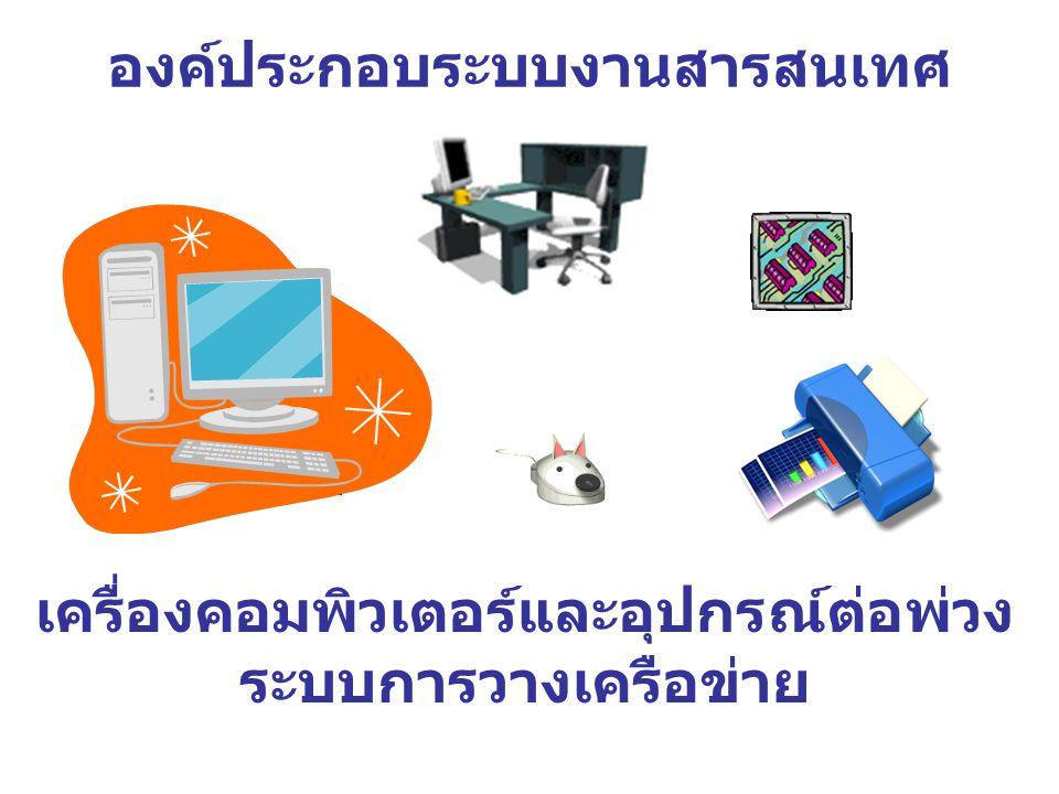 องค์ประกอบระบบงานสารสนเทศ เครื่องคอมพิวเตอร์และอุปกรณ์ต่อพ่วง ระบบการวางเครือข่าย