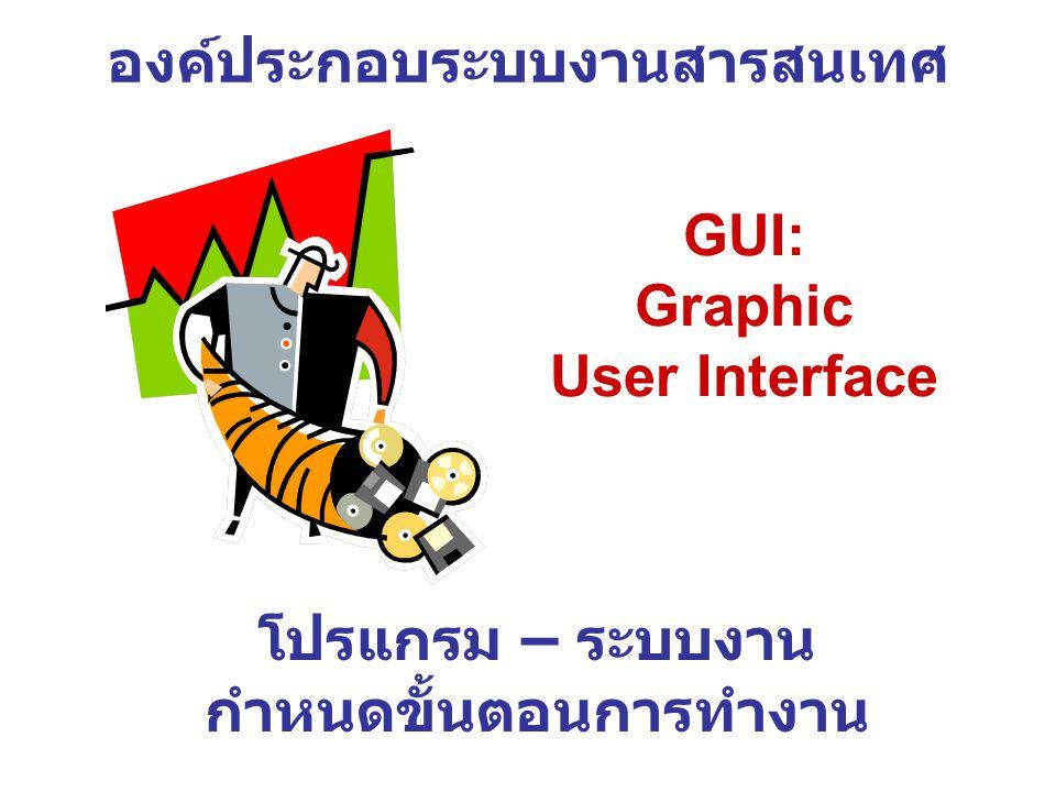 องค์ประกอบระบบงานสารสนเทศ โปรแกรม – ระบบงาน กำหนดขั้นตอนการทำงาน GUI: Graphic User Interface