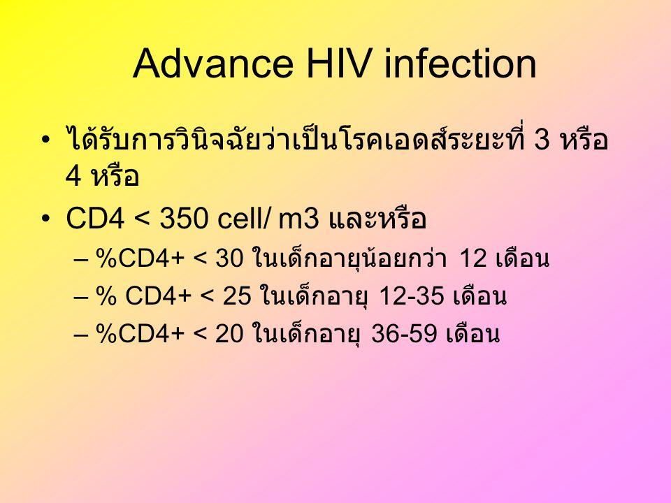 Advance HIV infection ได้รับการวินิจฉัยว่าเป็นโรคเอดส์ระยะที่ 3 หรือ 4 หรือ CD4 < 350 cell/ m3 และหรือ –%CD4+ < 30 ในเด็กอายุน้อยกว่า 12 เดือน –% CD4+