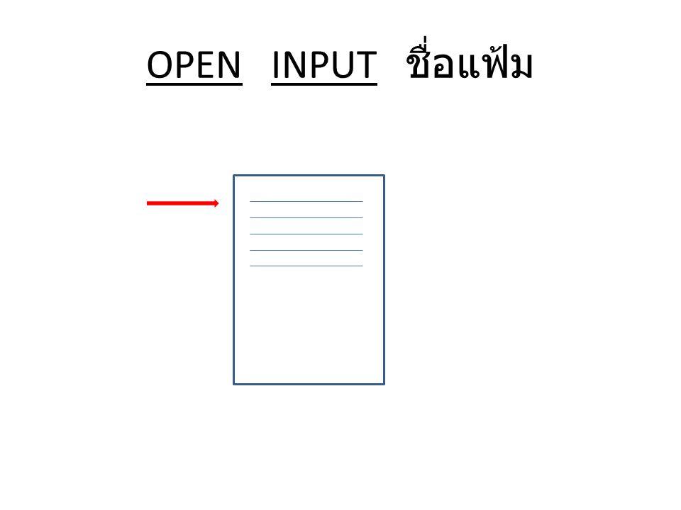 OPEN INPUT ชื่อแฟ้ม