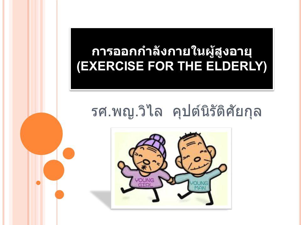  ผู้สูงอายุมีแนวโน้มจะเกิดความถดถอยของ สมรรถภาพทางกายง่ายกว่าในวัยอื่นๆ มักเป็น ภาวะเรื้อรัง ซึ่งจะมีผลต่อ reserve capacity ของ ผู้สูงอายุ 2 ทั้งนี้เพื่อประหยัดพลังงานที่ต้องใช้ใน การยืนเดิน และเมื่อเจ็บป่วย ต้องนอนโรงพยาบาล ด้วยโรคเพียงเล็กน้อย กลับพบว่าผู้สูงอายุไม่ สามารถเดินได้ เป็นต้น มีการศึกษาจากหลาย รายงาน 3-7 ยืนยันว่าในผู้สูงอายุที่มีสุขภาพพื้นฐาน ค่อนข้างดีสามารถพัฒนา functional capacity ได้โดยการออกกำลังกาย ซึ่งผลที่ได้รับจากการ ออกกำลังกายนั้น จะตรงข้ามกับผลที่เกิดจาก ความเสื่อมถอยจากการมีอายุมากขึ้น 8