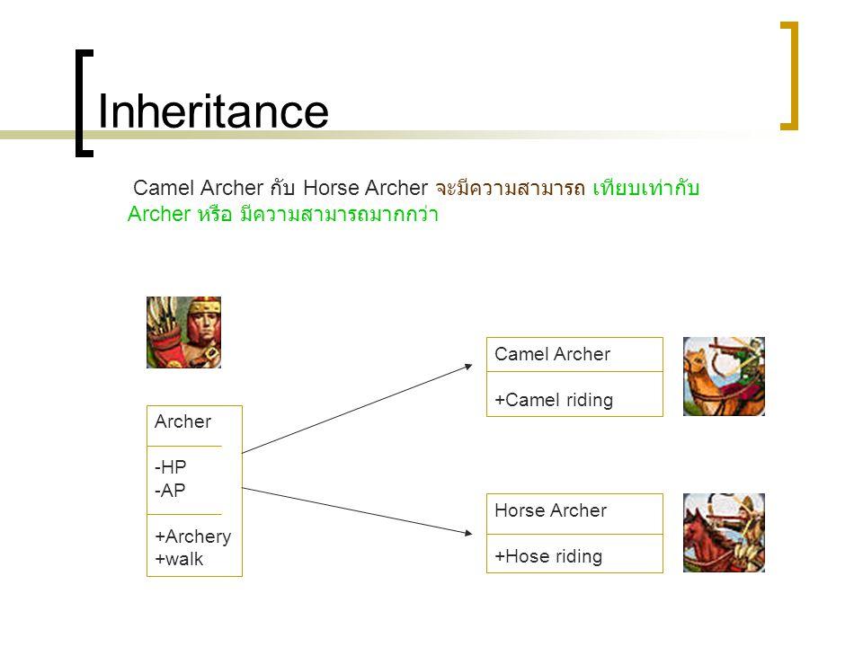 Inheritance Archer -HP -AP +Archery +walk Camel Archer +Camel riding Horse Archer +Hose riding Camel Archer กับ Horse Archer จะมีความสามารถ เทียบเท่ากับ Archer หรือ มีความสามารถมากกว่า