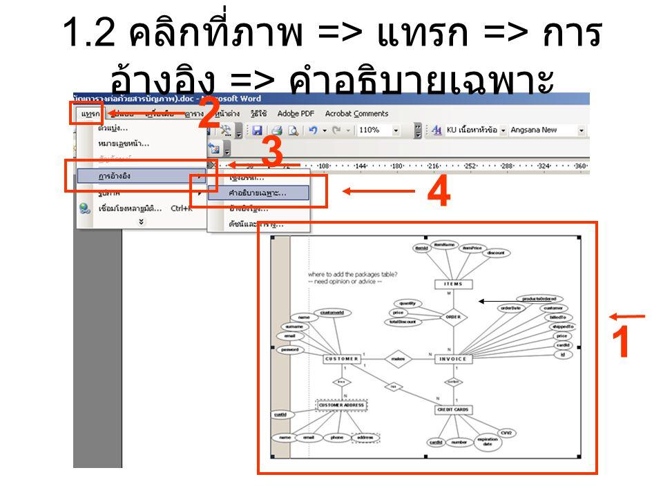 1.2 คลิกที่ภาพ => แทรก => การ อ้างอิง => คำอธิบายเฉพาะ 2 3 4 1
