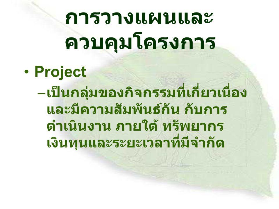 การวางแผนและ ควบคุมโครงการ Project – เป็นกลุ่มของกิจกรรมที่เกี่ยวเนื่อง และมีความสัมพันธ์กัน กับการ ดำเนินงาน ภายใต้ ทรัพยากร เงินทุนและระยะเวลาที่มีจำกัด
