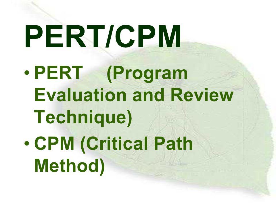 PERT/CPM PERT(Program Evaluation and Review Technique) CPM (Critical Path Method)