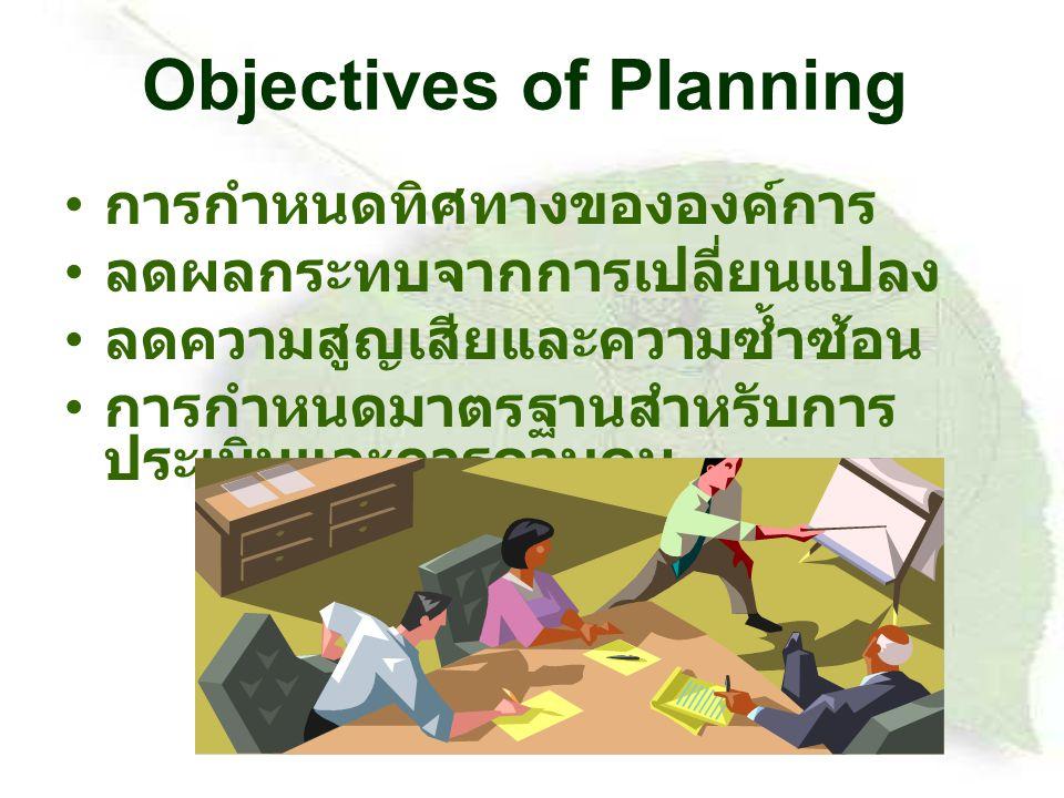 Objectives of Planning การกำหนดทิศทางขององค์การ ลดผลกระทบจากการเปลี่ยนแปลง ลดความสูญเสียและความซ้ำซ้อน การกำหนดมาตรฐานสำหรับการ ประเมินและการควบคุม