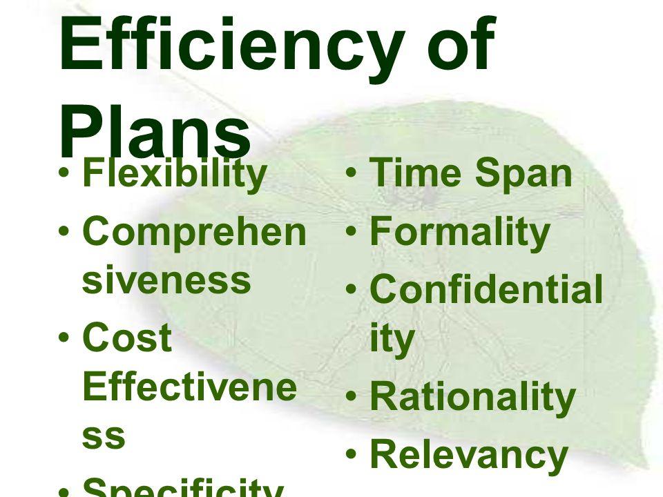 ประเภทของแผน Time horizontal –short - range plan –intermediate - range plan –long - range plan