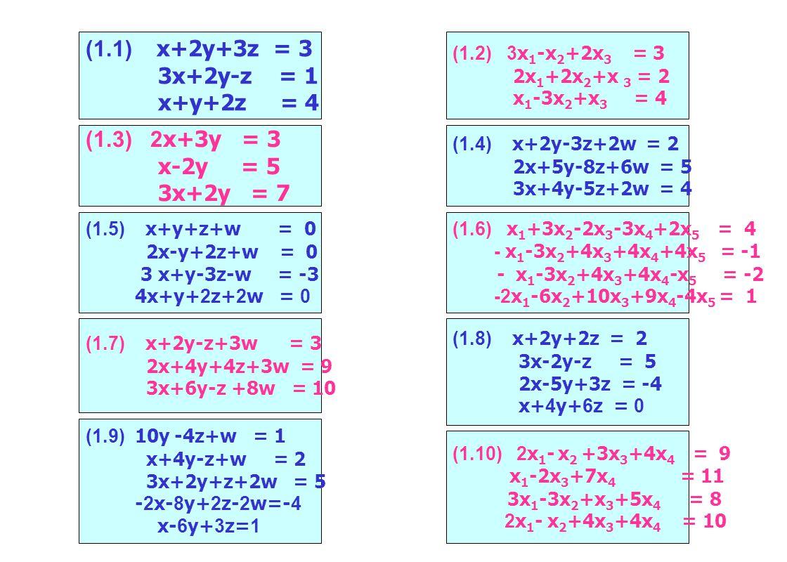 (1.1) x+2y+3z = 3 3x+2y-z = 1 x+y+2z = 4 (1.2) 3x 1 -x 2 +2x 3 = 3 2x 1 +2x 2 +x 3 = 2 x 1 -3x 2 +x 3 = 4 (1.3) 2x+3y = 3 x-2y = 5 3x+2y = 7 (1.4) x+2y-3z+2w = 2 2x+5y-8z+6w = 5 3x+4y-5z+2w = 4 (1.5) x+y+z+w = 0 2x-y+2z+w = 0 3 x+y-3z-w = -3 4x+y+2z+2w = 0 (1.7) x+2y-z+3w = 3 2x+4y+4z+3w = 9 3x+6y-z +8w = 10 (1.6) x 1 +3x 2 -2x 3 -3x 4 +2x 5 = 4 - x 1 -3x 2 +4x 3 +4x 4 +4x 5 = -1 - x 1 -3x 2 +4x 3 +4x 4 -x 5 = -2 -2x 1 -6x 2 +10x 3 +9x 4 -4x 5 = 1 (1.9) 10y -4z+w = 1 x+4y-z+w = 2 3x+2y+z+2w = 5 -2x-8y+2z-2w=-4 x-6y+3z=1 (1.8) x+2y+2z = 2 3x-2y-z = 5 2x-5y+3z = -4 x+4y+6z = 0 (1.10) 2x 1 - x 2 +3x 3 +4x 4 = 9 x 1 -2x 3 +7x 4 = 11 3x 1 -3x 2 +x 3 +5x 4 = 8 2x 1 - x 2 +4x 3 +4x 4 = 10