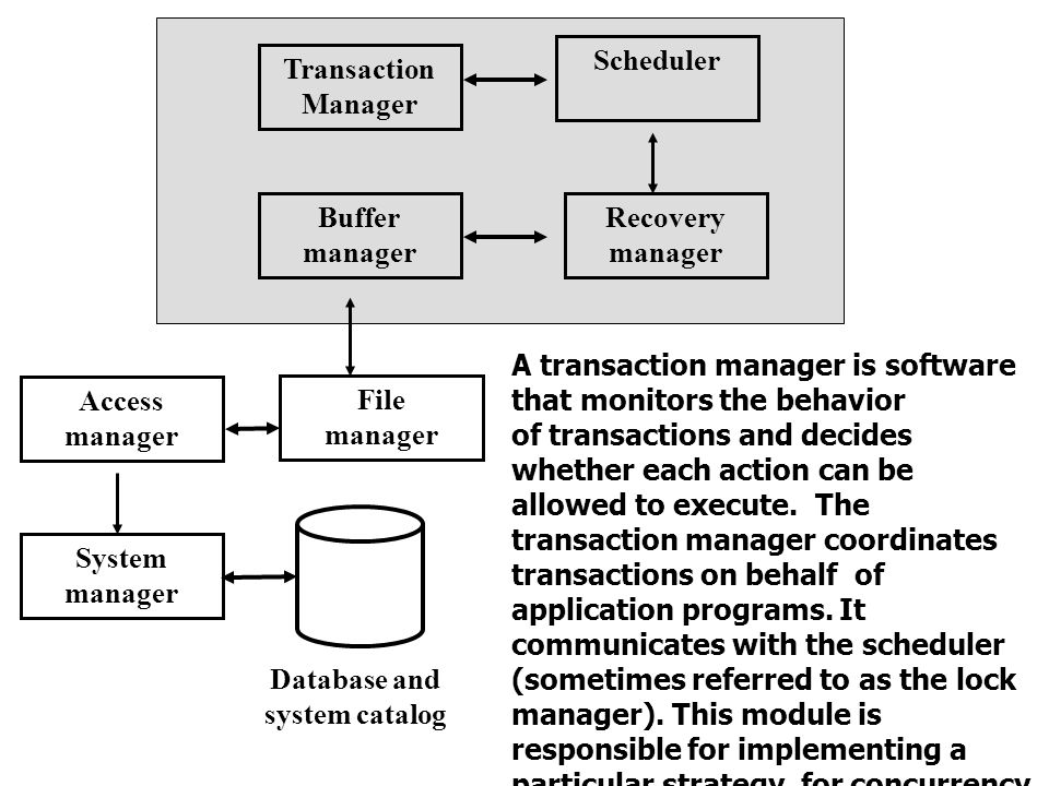 Transaction Manager Scheduler Recovery manager Buffer manager Access manager File manager System manager Database and system catalog A transaction manager is software that monitors the behavior of transactions and decides whether each action can be allowed to execute.