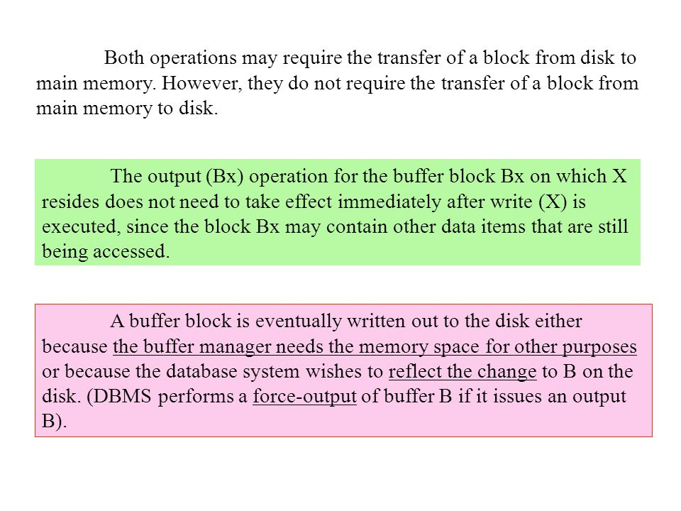 Both operations may require the transfer of a block from disk to main memory.