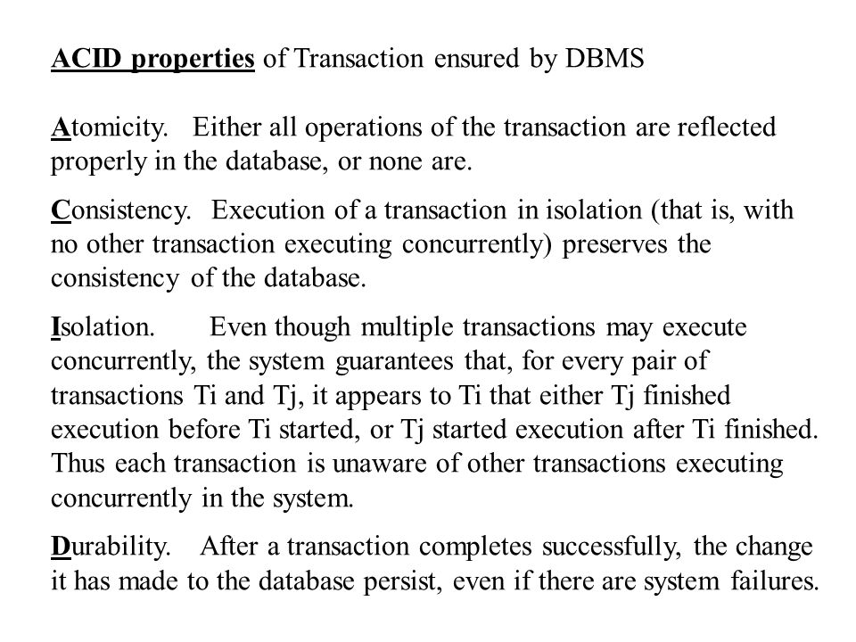 ACID properties of Transaction ensured by DBMS Atomicity.