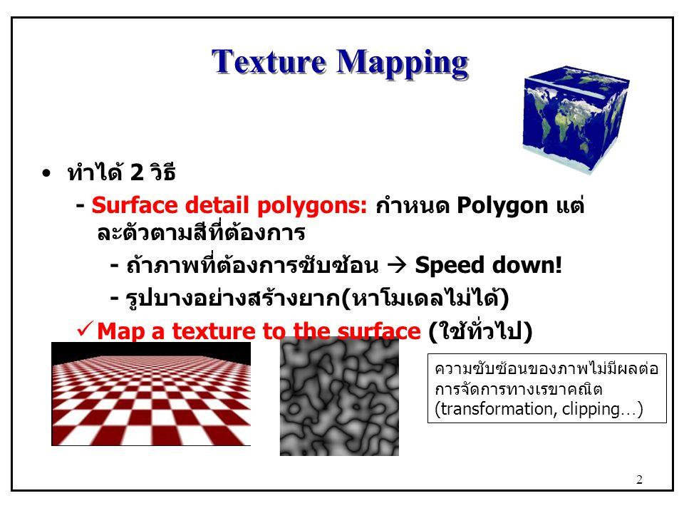 Texture Mapping ทำได้ 2 วิธี - Surface detail polygons: กำหนด Polygon แต่ ละตัวตามสีที่ต้องการ - ถ้าภาพที่ต้องการซับซ้อน  Speed down! - รูปบางอย่างสร