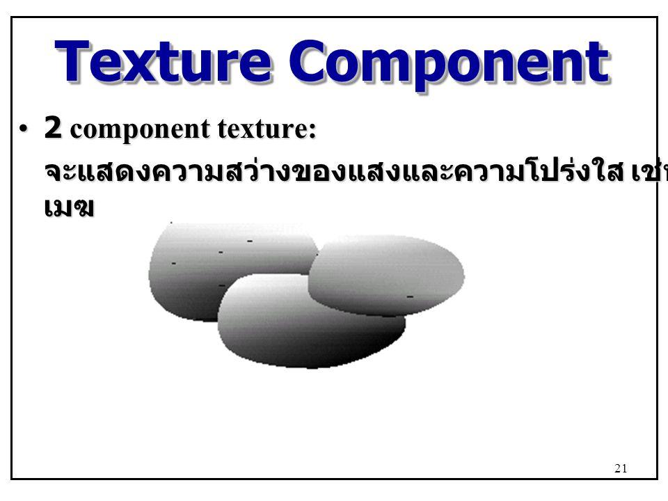 Texture Component 2 component texture:2 component texture: จะแสดงความสว่างของแสงและความโปร่งใส เช่น เมฆ จะแสดงความสว่างของแสงและความโปร่งใส เช่น เมฆ 21