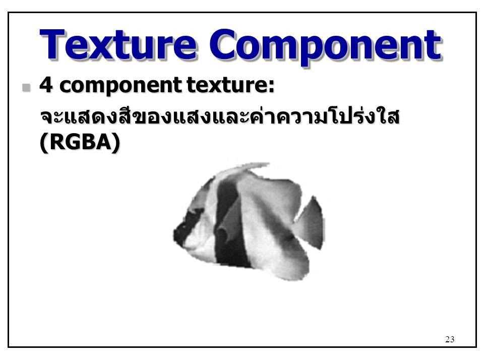 Texture Component 4 component texture: 4 component texture: จะแสดงสีของแสงและค่าความโปร่งใส (RGBA) จะแสดงสีของแสงและค่าความโปร่งใส (RGBA) 23