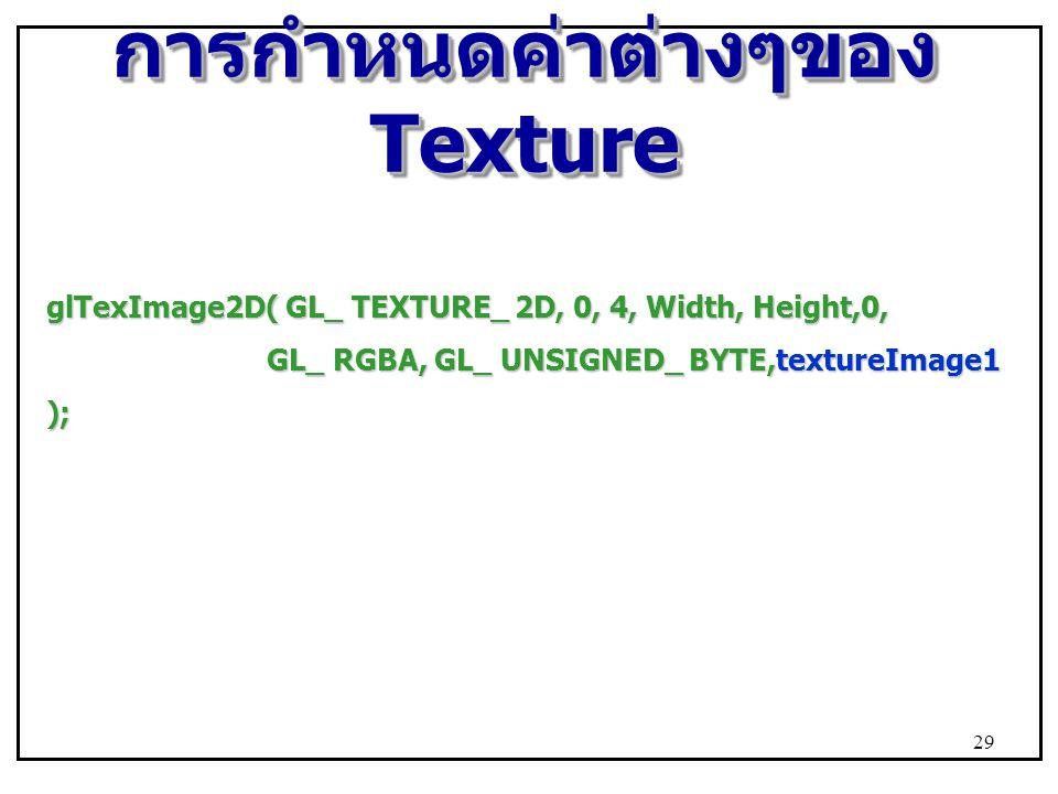 การกำหนดค่าต่างๆของ Texture glTexImage2D( GL_ TEXTURE_ 2D, 0, 4, Width, Height,0, GL_ RGBA, GL_ UNSIGNED_ BYTE,textureImage1 GL_ RGBA, GL_ UNSIGNED_ B