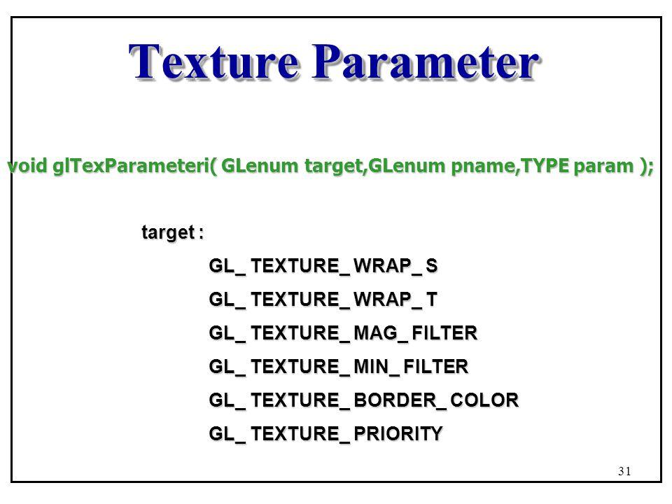 Texture Parameter void glTexParameteri( GLenum target,GLenum pname,TYPE param ); target : GL_ TEXTURE_ WRAP_ S GL_ TEXTURE_ WRAP_ T GL_ TEXTURE_ MAG_ FILTER GL_ TEXTURE_ MIN_ FILTER GL_ TEXTURE_ BORDER_ COLOR GL_ TEXTURE_ PRIORITY 31