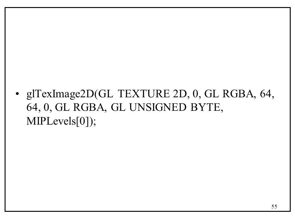 glTexImage2D(GL TEXTURE 2D, 0, GL RGBA, 64, 64, 0, GL RGBA, GL UNSIGNED BYTE, MIPLevels[0]); 55