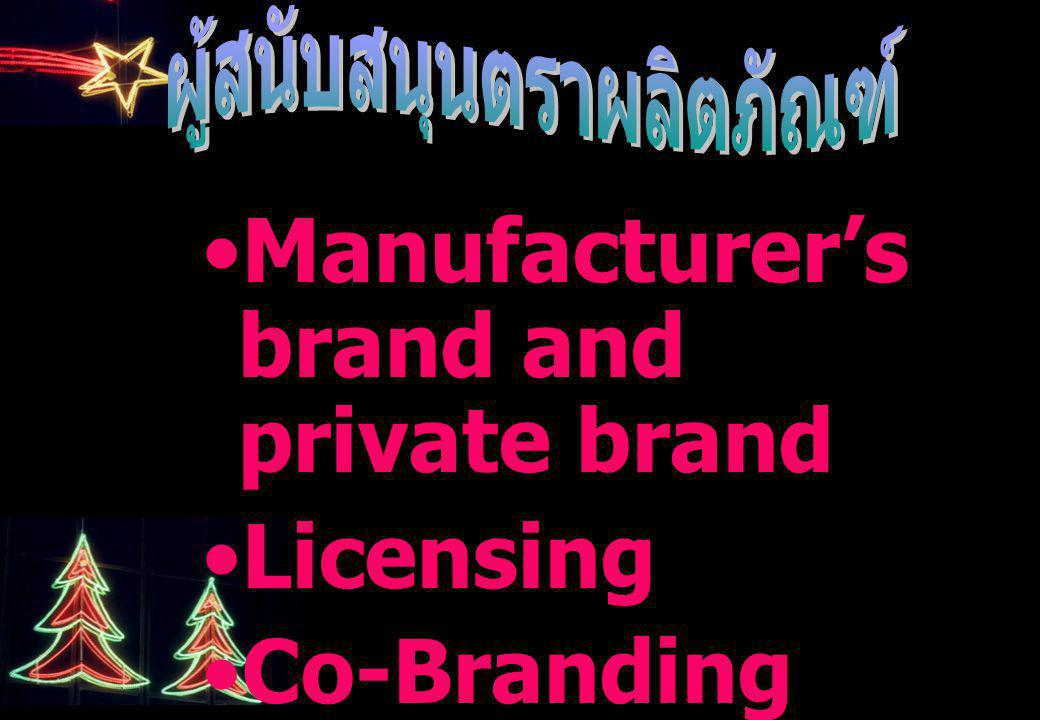 Manufacturer's brand and private brand Licensing Co-Branding