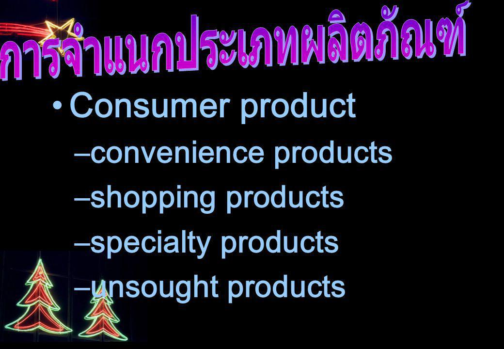 Consumer product –convenience products –shopping products –specialty products –unsought products