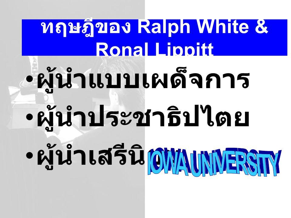 ทฤษฎีของ Ralph White & Ronal Lippitt ผู้นำแบบเผด็จการ ผู้นำประชาธิปไตย ผู้นำเสรีนิยม