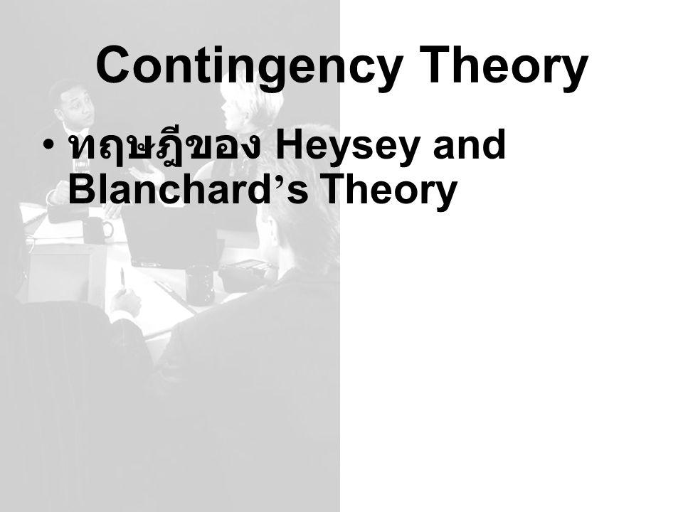 Contingency Theory ทฤษฎีของ Heysey and Blanchard ' s Theory