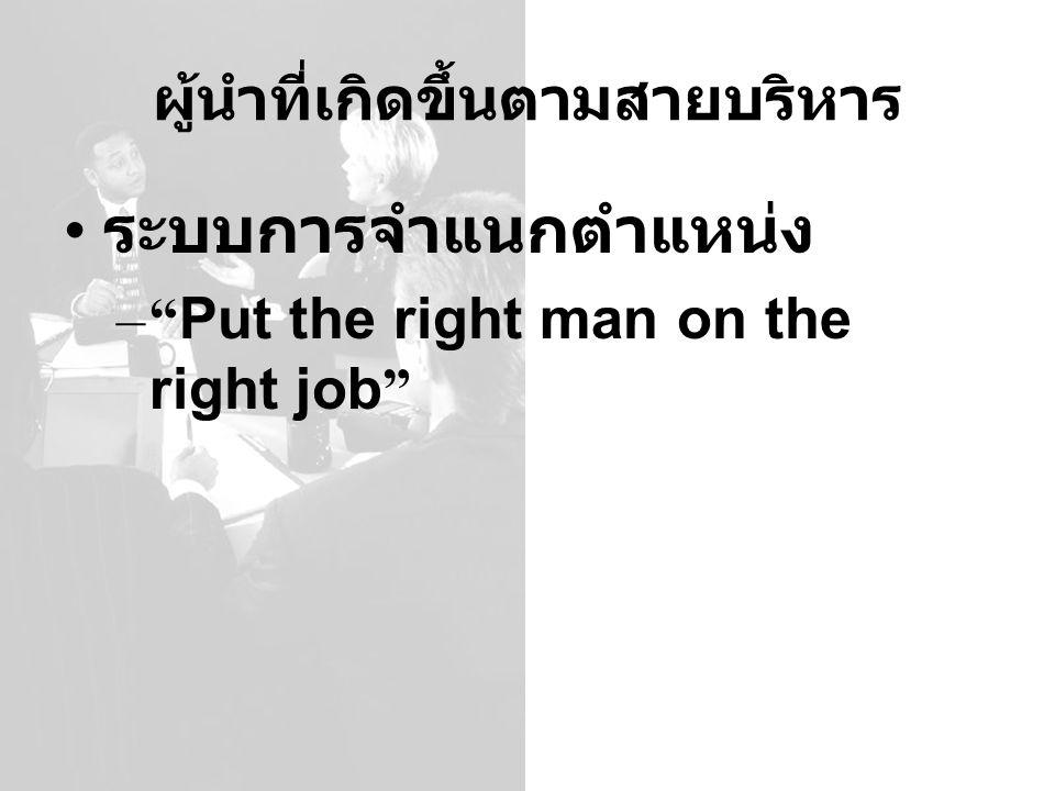 """ผู้นำที่เกิดขึ้นตามสายบริหาร ระบบการจำแนกตำแหน่ง –"""" Put the right man on the right job """""""