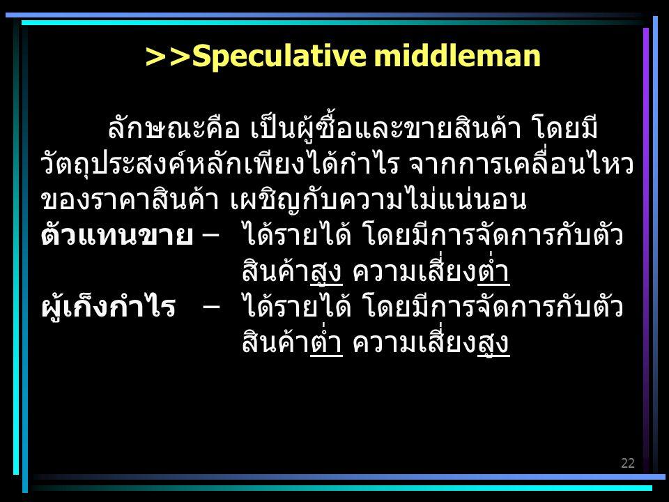 22 >>Speculative middleman ลักษณะคือ เป็นผู้ซื้อและขายสินค้า โดยมี วัตถุประสงค์หลักเพียงได้กำไร จากการเคลื่อนไหว ของราคาสินค้า เผชิญกับความไม่แน่นอน ตัวแทนขาย – ได้รายได้ โดยมีการจัดการกับตัว สินค้าสูง ความเสี่ยงต่ำ ผู้เก็งกำไร – ได้รายได้ โดยมีการจัดการกับตัว สินค้าต่ำ ความเสี่ยงสูง