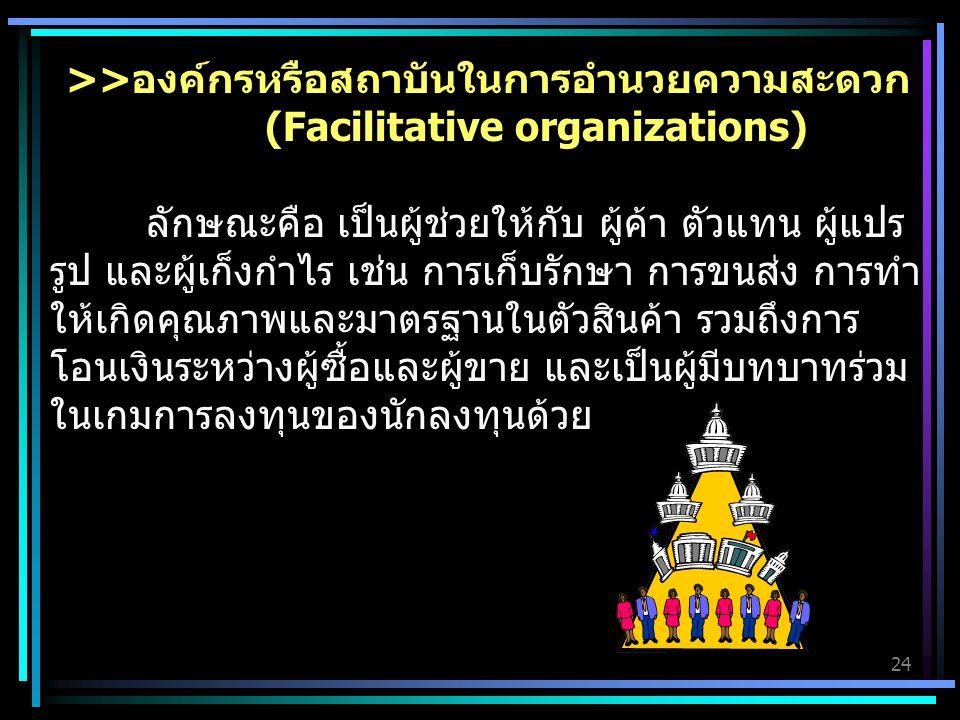 24 >>องค์กรหรือสถาบันในการอำนวยความสะดวก (Facilitative organizations) ลักษณะคือ เป็นผู้ช่วยให้กับ ผู้ค้า ตัวแทน ผู้แปร รูป และผู้เก็งกำไร เช่น การเก็บรักษา การขนส่ง การทำ ให้เกิดคุณภาพและมาตรฐานในตัวสินค้า รวมถึงการ โอนเงินระหว่างผู้ซื้อและผู้ขาย และเป็นผู้มีบทบาทร่วม ในเกมการลงทุนของนักลงทุนด้วย