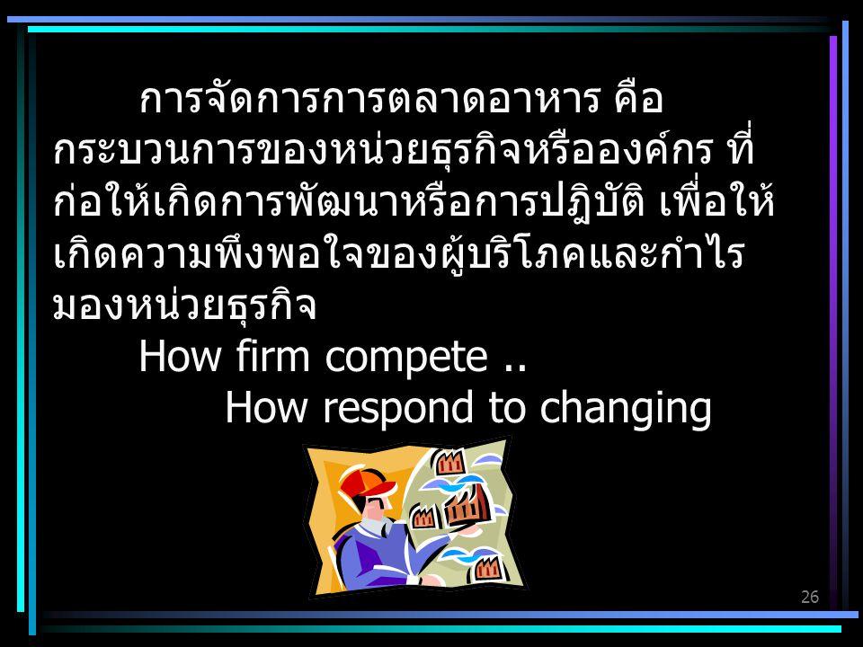 26 การจัดการการตลาดอาหาร คือ กระบวนการของหน่วยธุรกิจหรือองค์กร ที่ ก่อให้เกิดการพัฒนาหรือการปฎิบัติ เพื่อให้ เกิดความพึงพอใจของผู้บริโภคและกำไร มองหน่วยธุรกิจ How firm compete..