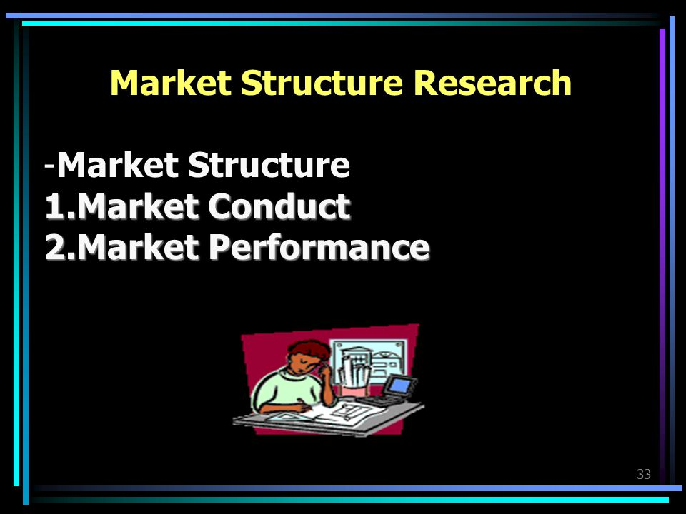 33 Market Structure Research -Market Structure 1.Market Conduct 2.Market Performance