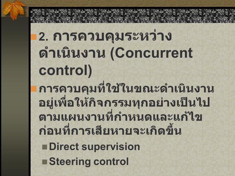 2. การควบคุมระหว่าง ดำเนินงาน (Concurrent control) การควบคุมที่ใช้ในขณะดำเนินงาน อยู่เพื่อให้กิจกรรมทุกอย่างเป็นไป ตามแผนงานที่กำหนดและแก้ไข ก่อนที่กา