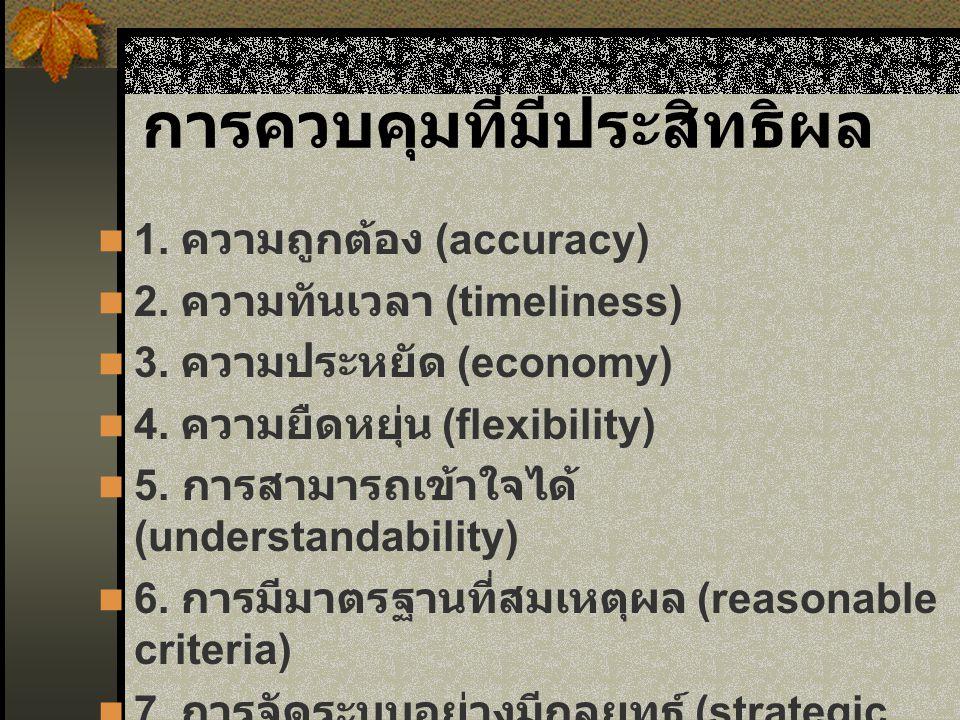 การควบคุมที่มีประสิทธิผล 1.ความถูกต้อง (accuracy) 2.