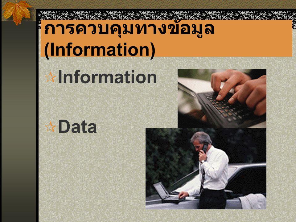การควบคุมทางข้อมูล (Information)  Information  Data