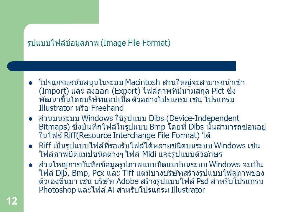 12 รูปแบบไฟล์ข้อมูลภาพ (Image File Format) โปรแกรมสนับสนุนในระบบ Macintosh ส่วนใหญ่จะสามารถนำเข้า (Import) และ ส่งออก (Export) ไฟล์ภาพที่มีนามสกุล Pict ซึ่ง พัฒนาขึ้นโดยบริษัทแอปเปิ้ล ตัวอย่างโปรแกรม เช่น โปรแกรม Illustrator หรือ Freehand ส่วนบนระบบ Windows ใช้รูปแบบ Dibs (Device-Independent Bitmaps) ซึ่งบันทึกไฟล์ในรูปแบบ Bmp โดยที่ Dibs นั้นสามารถซ่อนอยู่ ในไฟล์ Riff(Resource Interchange File Format) ได้ Riff เป็นรูปแบบไฟล์ที่รองรับไฟล์ได้หลายชนิดบนระบบ Windows เช่น ไฟล์ภาพบิตแมปชนิดต่างๆ ไฟล์ Midi และรูปแบบตัวอักษร ส่วนใหญ่การบันทึกข้อมูลรูปภาพแบบบิตแมปบนระบบ Windows จะเป็น ไฟล์ Dib, Bmp, Pcx และ Tiff แต่มีบางบริษัทสร้างรูปแบบไฟล์ภาพของ ตัวเองขึ้นมา เช่น บริษัท Adobe สร้างรูปแบบไฟล์ Psd สำหรับโปรแกรม Photoshop และไฟล์ Ai สำหรับโปรแกรม Illustrator