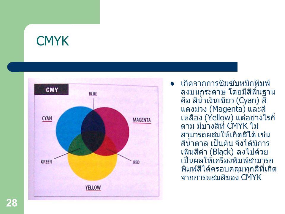 28 CMYK เกิดจากการซึมซับหมึกพิมพ์ ลงบนกระดาษ โดยมีสีพื้นฐาน คือ สีน้ำเงินเขียว (Cyan) สี แดงม่วง (Magenta) และสี เหลือง (Yellow) แต่อย่างไรก็ ตาม มีบางสีที่ CMYK ไม่ สามารถผสมให้เกิดสีได้ เช่น สีน้ำตาล เป็นต้น จึงได้มีการ เพิ่มสีดำ (Black) ลงไปด้วย เป็นผลให้เครื่องพิมพ์สามารถ พิมพ์สีได้ครอบคลุมทุกสีที่เกิด จากการผสมสีของ CMYK