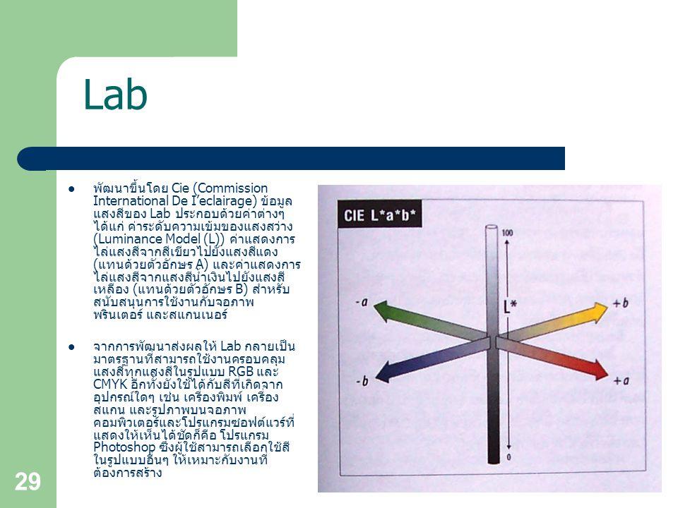 29 Lab พัฒนาขึ้นโดย Cie (Commission International De I'eclairage) ข้อมูล แสงสีของ Lab ประกอบด้วยค่าต่างๆ ได้แก่ ค่าระดับความเข้มของแสงสว่าง (Luminance Model (L)) ค่าแสดงการ ไล่แสงสีจากสีเขียวไปยังแสงสีแดง (แทนด้วยตัวอักษร A) และค่าแสดงการ ไล่แสงสีจากแสงสีน้ำเงินไปยังแสงสี เหลือง (แทนด้วยตัวอักษร B) สำหรับ สนับสนุนการใช้งานกับจอภาพ พรินเตอร์ และสแกนเนอร์ จากการพัฒนาส่งผลให้ Lab กลายเป็น มาตรฐานที่สามารถใช้งานครอบคลุม แสงสีทุกแสงสีในรูปแบบ RGB และ CMYK อีกทั้งยังใช้ได้กับสีที่เกิดจาก อุปกรณ์ใดๆ เช่น เครื่องพิมพ์ เครื่อง สแกน และรูปภาพบนจอภาพ คอมพิวเตอร์และโปรแกรมซอฟต์แวร์ที่ แสดงให้เห็นได้ชัดก็คือ โปรแกรม Photoshop ซึ่งผู้ใช้สามารถเลือกใช้สี ในรูปแบบอื่นๆ ให้เหมาะกับงานที่ ต้องการสร้าง