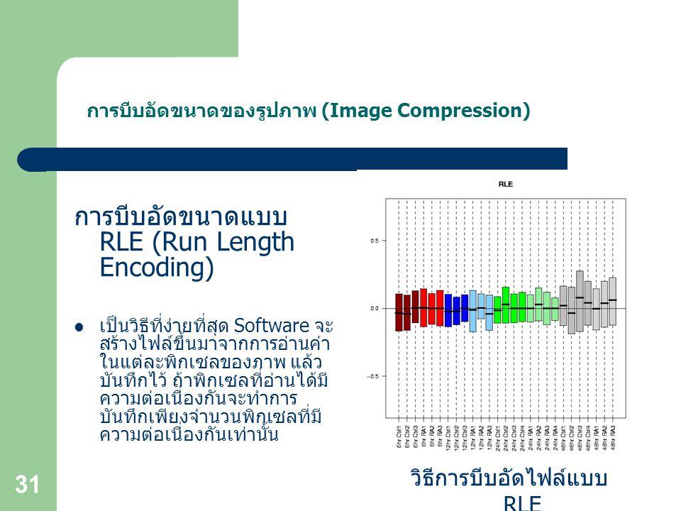 31 การบีบอัดขนาดของรูปภาพ (Image Compression) การบีบอัดขนาดแบบ RLE (Run Length Encoding) เป็นวิธีที่ง่ายที่สุด Software จะ สร้างไฟล์ขึ้นมาจากการอ่านค่า ในแต่ละพิกเซลของภาพ แล้ว บันทึกไว้ ถ้าพิกเซลที่อ่านได้มี ความต่อเนื่องกันจะทำการ บันทึกเพียงจำนวนพิกเซลที่มี ความต่อเนื่องกันเท่านั้น วิธีการบีบอัดไฟล์แบบ RLE