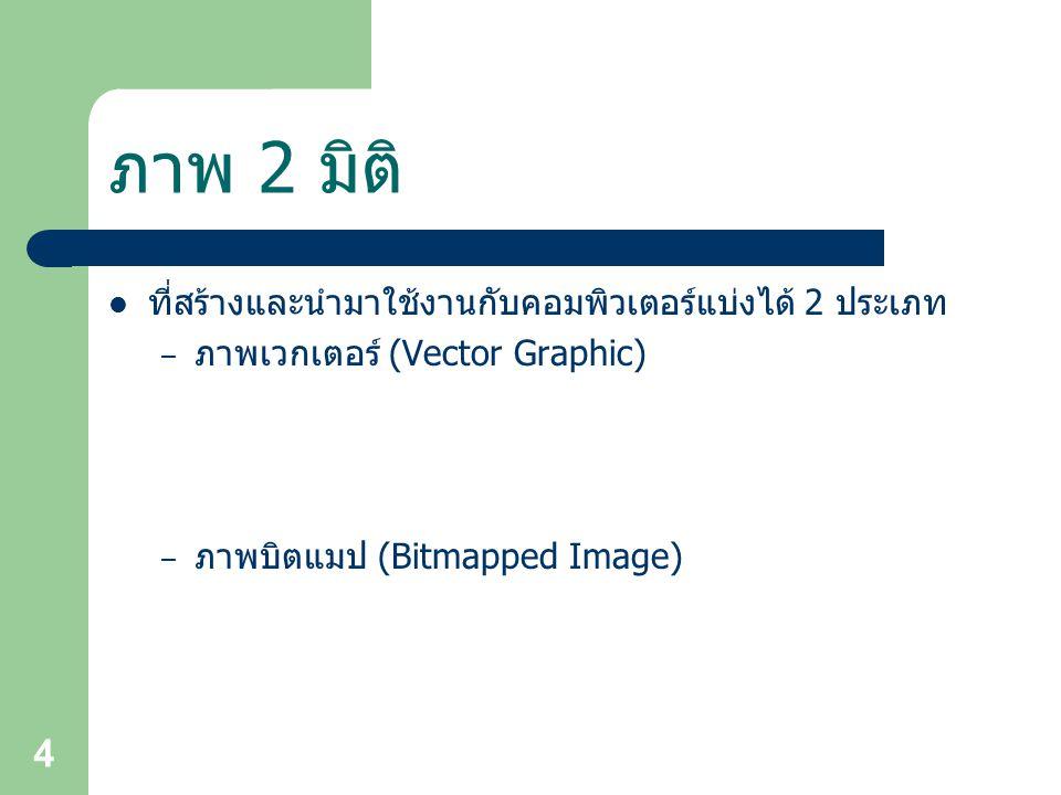 4 ภาพ 2 มิติ ที่สร้างและนำมาใช้งานกับคอมพิวเตอร์แบ่งได้ 2 ประเภท – ภาพเวกเตอร์ (Vector Graphic) – ภาพบิตแมป (Bitmapped Image)