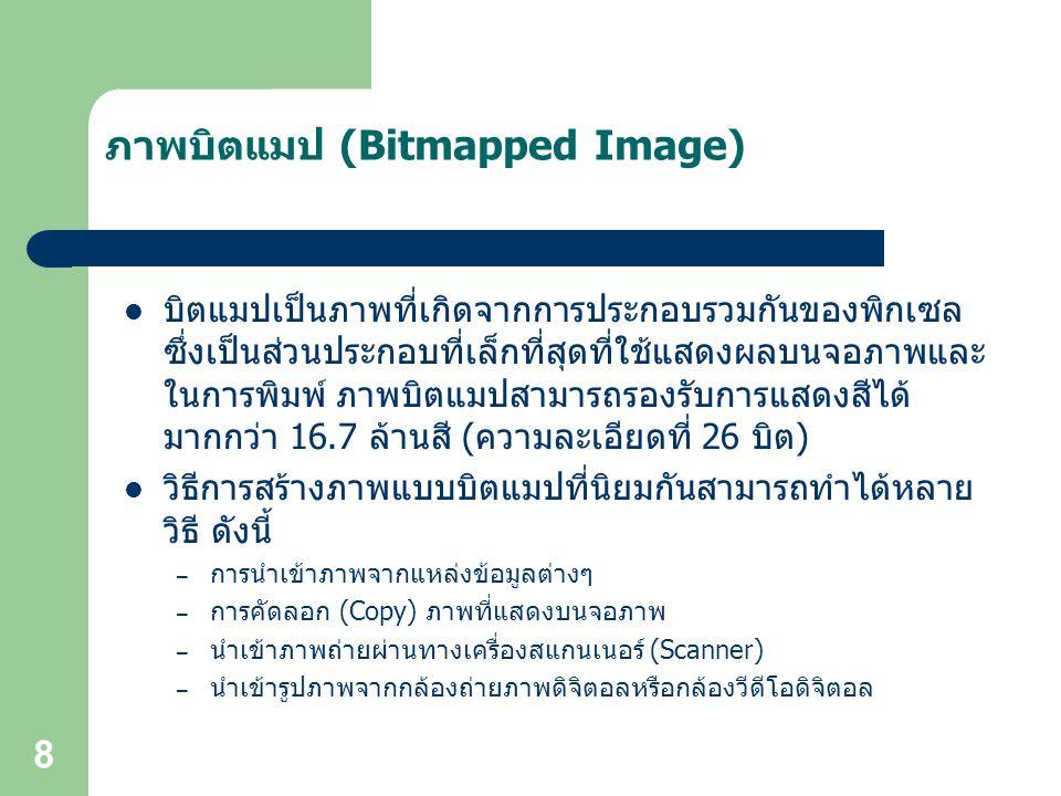 8 ภาพบิตแมป (Bitmapped Image) บิตแมปเป็นภาพที่เกิดจากการประกอบรวมกันของพิกเซล ซึ่งเป็นส่วนประกอบที่เล็กที่สุดที่ใช้แสดงผลบนจอภาพและ ในการพิมพ์ ภาพบิตแมปสามารถรองรับการแสดงสีได้ มากกว่า 16.7 ล้านสี (ความละเอียดที่ 26 บิต) วิธีการสร้างภาพแบบบิตแมปที่นิยมกันสามารถทำได้หลาย วิธี ดังนี้ – การนำเข้าภาพจากแหล่งข้อมูลต่างๆ – การคัดลอก (Copy) ภาพที่แสดงบนจอภาพ – นำเข้าภาพถ่ายผ่านทางเครื่องสแกนเนอร์ (Scanner) – นำเข้ารูปภาพจากกล้องถ่ายภาพดิจิตอลหรือกล้องวีดีโอดิจิตอล