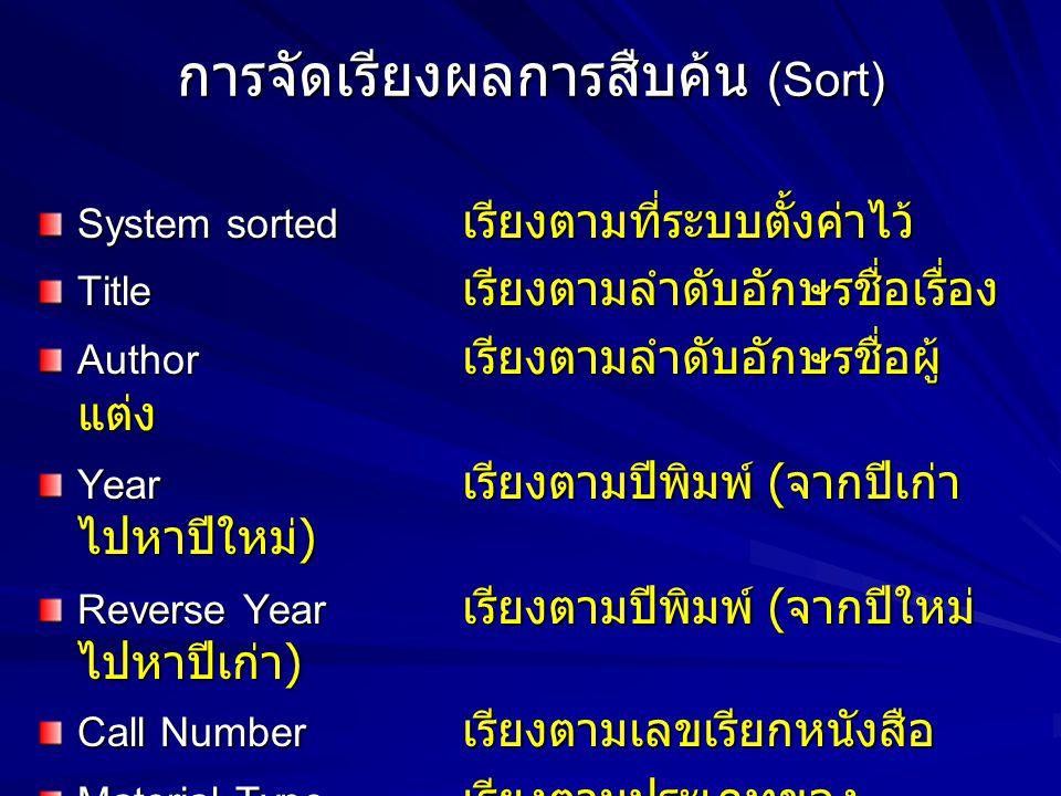 การจัดเรียงผลการสืบค้น (Sort) System sorted เรียงตามที่ระบบตั้งค่าไว้ Title เรียงตามลำดับอักษรชื่อเรื่อง Author เรียงตามลำดับอักษรชื่อผู้ แต่ง Year เร