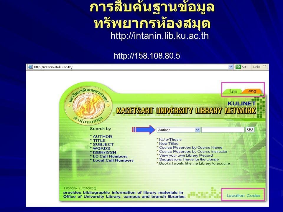 การสืบค้นฐานข้อมูล ทรัพยากรห้องสมุด http://intanin.lib.ku.ac.th http://158.108.80.5
