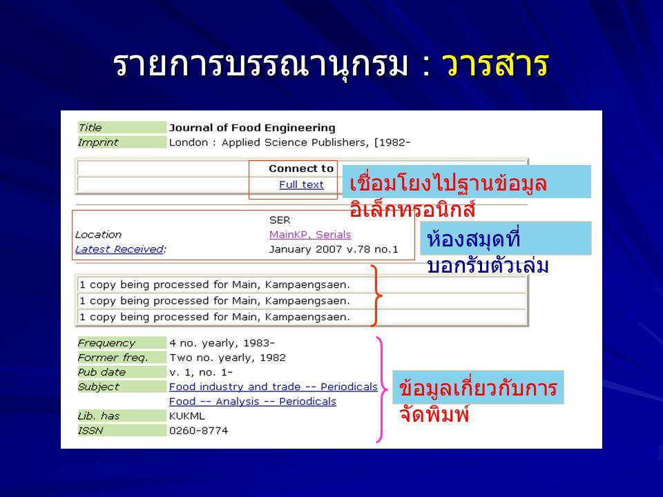รายการบรรณานุกรม : วารสาร เชื่อมโยงไปฐานข้อมูล อิเล็กทรอนิกส์ ห้องสมุดที่ บอกรับตัวเล่ม ข้อมูลเกี่ยวกับการ จัดพิมพ์