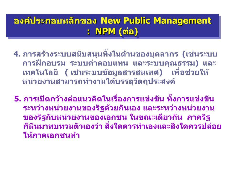 องค์ประกอบหลักของ New Public Management : NPM (ต่อ) องค์ประกอบหลักของ New Public Management : NPM (ต่อ) 4. การสร้างระบบสนับสนุนทั้งในด้านของบุคลากร (เ