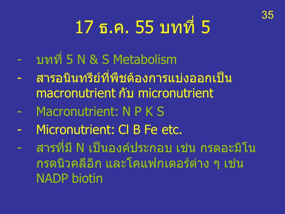 17 ธ.ค. 55 บทที่ 5 -บทที่ 5 N & S Metabolism -สารอนินทรีย์ที่พืชต้องการแบ่งออกเป็น macronutrient กับ micronutrient -Macronutrient: N P K S -Micronutri