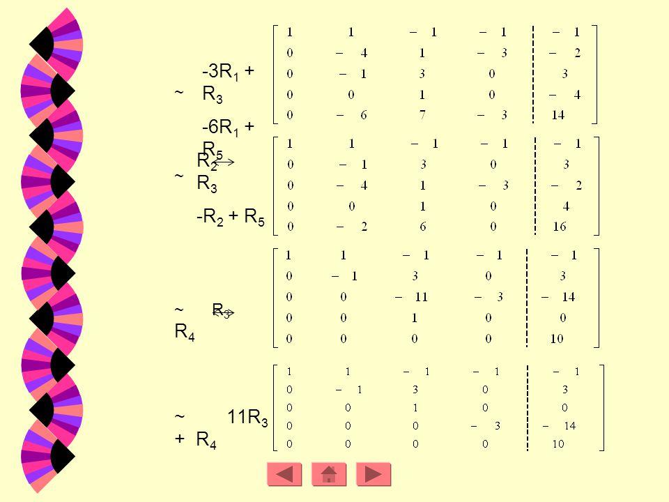 ข้อ. 4 วิธีทำ จากระบบสมการเชิงเส้น สามารถเปลี่ยนให้อยู่ในรูปเมตริกซ์แต่งเติมได้ดังนี้ ~ R 1 R 3 ~ R 1 + R 3 R 1 + R 5 ~ -R 3 + R 2 -R 5 + R 4