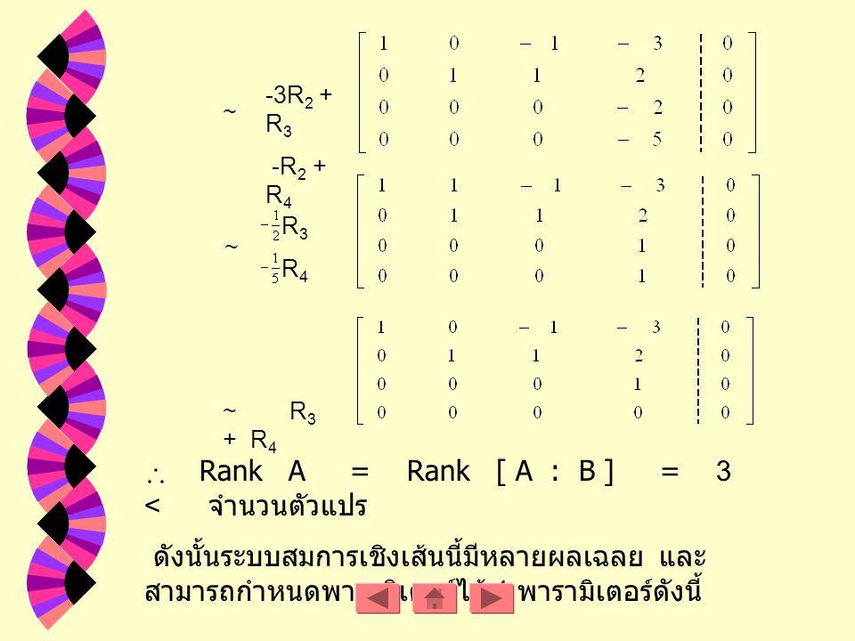ข้อ. 9 วิธีทำ จากระบบสมการเชิงเส้น สามารถเปลี่ยนให้อยู่ในรูปเมตริกซ์แต่งเติมได้ดังนี้ R 1 ~ R 3 + R 4 ~ -2R 2 + R 3 ~ R 1 R 2 -R 3 + R 4