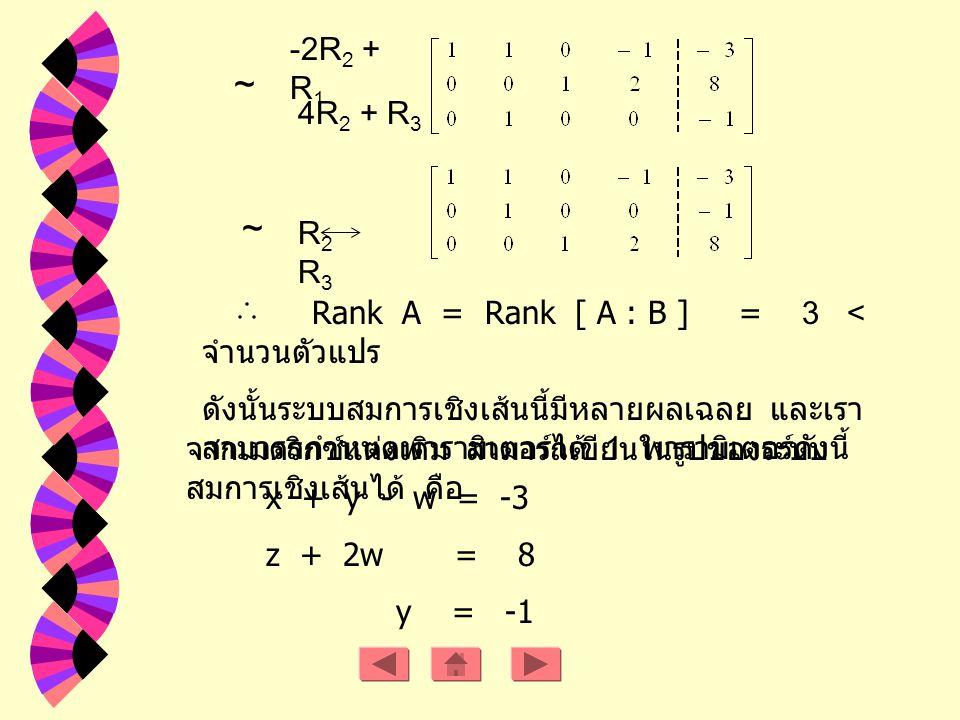 ~ -2R 2 + R 1 4R 2 + R 3 ~ R2R3R2R3 Rank A = Rank [ A : B ] = 3 < จำนวนตัวแปร ดังนั้นระบบสมการเชิงเส้นนี้มีหลายผลเฉลย และเรา สามารถกำหนดพารามิเตอร์ได้ 1 พารามิเตอร์ดังนี้ จากเมตริกซ์แต่งเติม สามารถเขียนในรูปของระบบ สมการเชิงเส้นได้ คือ x + y - w = -3 z + 2w = 8 y = -1