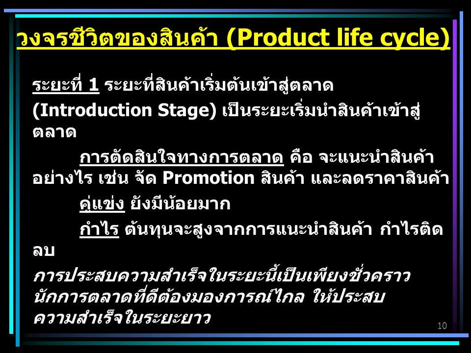 10 ระยะที่ 1 ระยะที่สินค้าเริ่มต้นเข้าสู่ตลาด (Introduction Stage) เป็นระยะเริ่มนำสินค้าเข้าสู่ ตลาด การตัดสินใจทางการตลาด คือ จะแนะนำสินค้า อย่างไร เช่น จัด Promotion สินค้า และลดราคาสินค้า คู่แข่ง ยังมีน้อยมาก กำไร ต้นทุนจะสูงจากการแนะนำสินค้า กำไรติด ลบ การประสบความสำเร็จในระยะนี้เป็นเพียงชั่วคราว นักการตลาดที่ดีต้องมองการณ์ไกล ให้ประสบ ความสำเร็จในระยะยาว วงจรชีวิตของสินค้า (Product life cycle)
