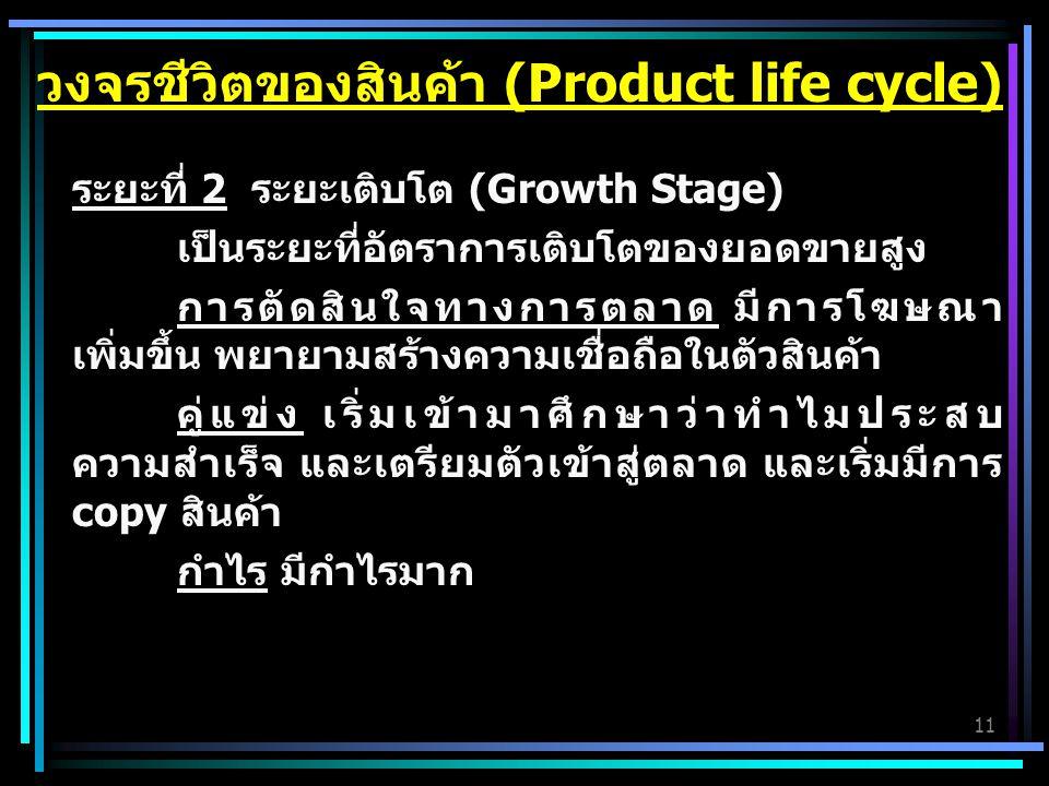 11 ระยะที่ 2 ระยะเติบโต (Growth Stage) เป็นระยะที่อัตราการเติบโตของยอดขายสูง การตัดสินใจทางการตลาด มีการโฆษณา เพิ่มขึ้น พยายามสร้างความเชื่อถือในตัวสินค้า คู่แข่ง เริ่มเข้ามาศึกษาว่าทำไมประสบ ความสำเร็จ และเตรียมตัวเข้าสู่ตลาด และเริ่มมีการ copy สินค้า กำไร มีกำไรมาก วงจรชีวิตของสินค้า (Product life cycle)